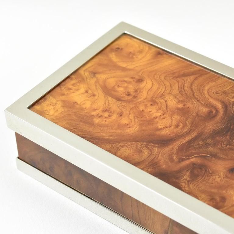 Metal Maison Lancel Chrome Burl Wood Box For Sale