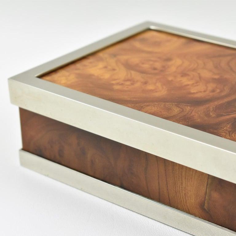 Maison Lancel Chrome Burl Wood Box For Sale 1