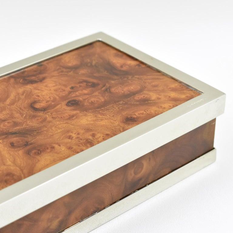 Maison Lancel Chrome Burl Wood Box For Sale 2