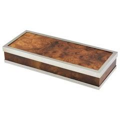 Maison Lancel Chrome Burl Wood Box