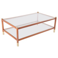 Maison Lancel Coffee Table in Wood, Brass, and Glass