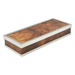 Maison Lancel Paris Chrome and Burl Wood Box