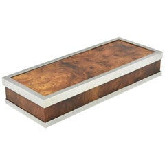 Maison Lancel Paris Chrome and Burl Wood Extra Long Decorative Box