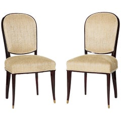 Maison Leleu, Pair of Lacquered Side Chairs, France, circa 1963