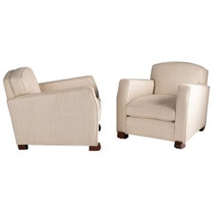Maison Leleu, Pair of Midcentury, Off-White Club Chairs, France, circa 1946