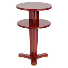 Maison Leleu Red Lacquered Two-Tier Side Table, France, circa 1955