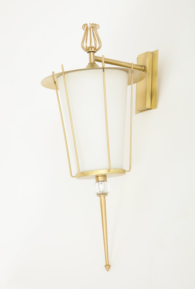 Maison Lunel Brass Lantern Sconces In Excellent Condition For Sale In New York, NY