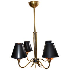 Maison Lunel Four-Light Chandelier Brass and Gun Metal French Mid-Century Modern