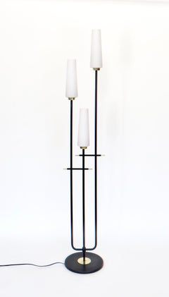Maison Lunel French Three-Light Opaque Glass Floor Lamp