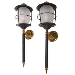 Maison Lunel Pair of Black Glass and Brass Lantern Wall Mounted Sconces France
