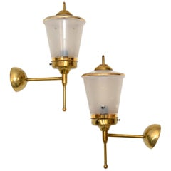 Maison Lunel Pair of Ornate Glass and Brass Lantern Wall Mounted Sconces, France