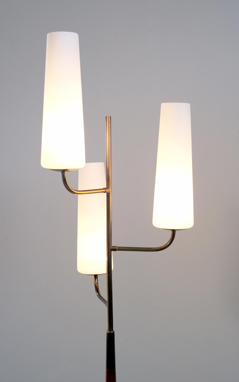 Maison Lunel, Tripod Floor Lamp with Three Opalines, France, 1960 For Sale 3