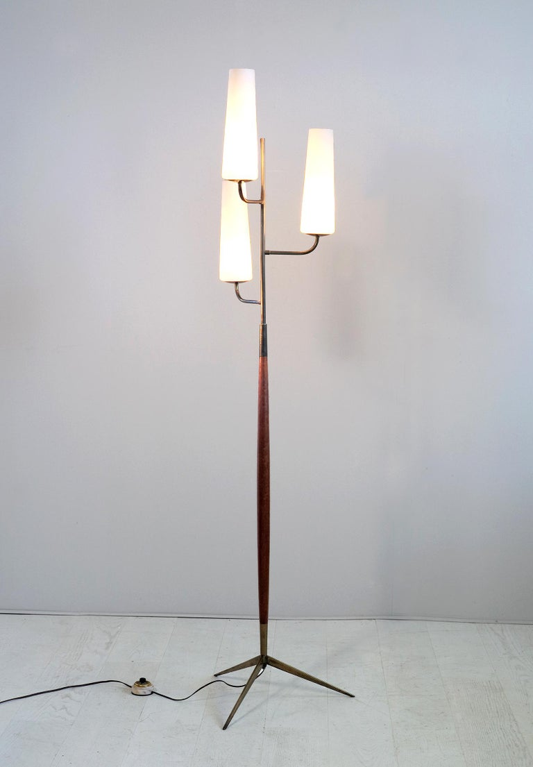 Maison Lunel, Tripod Floor Lamp with Three Opalines, France, 1960 For Sale 4