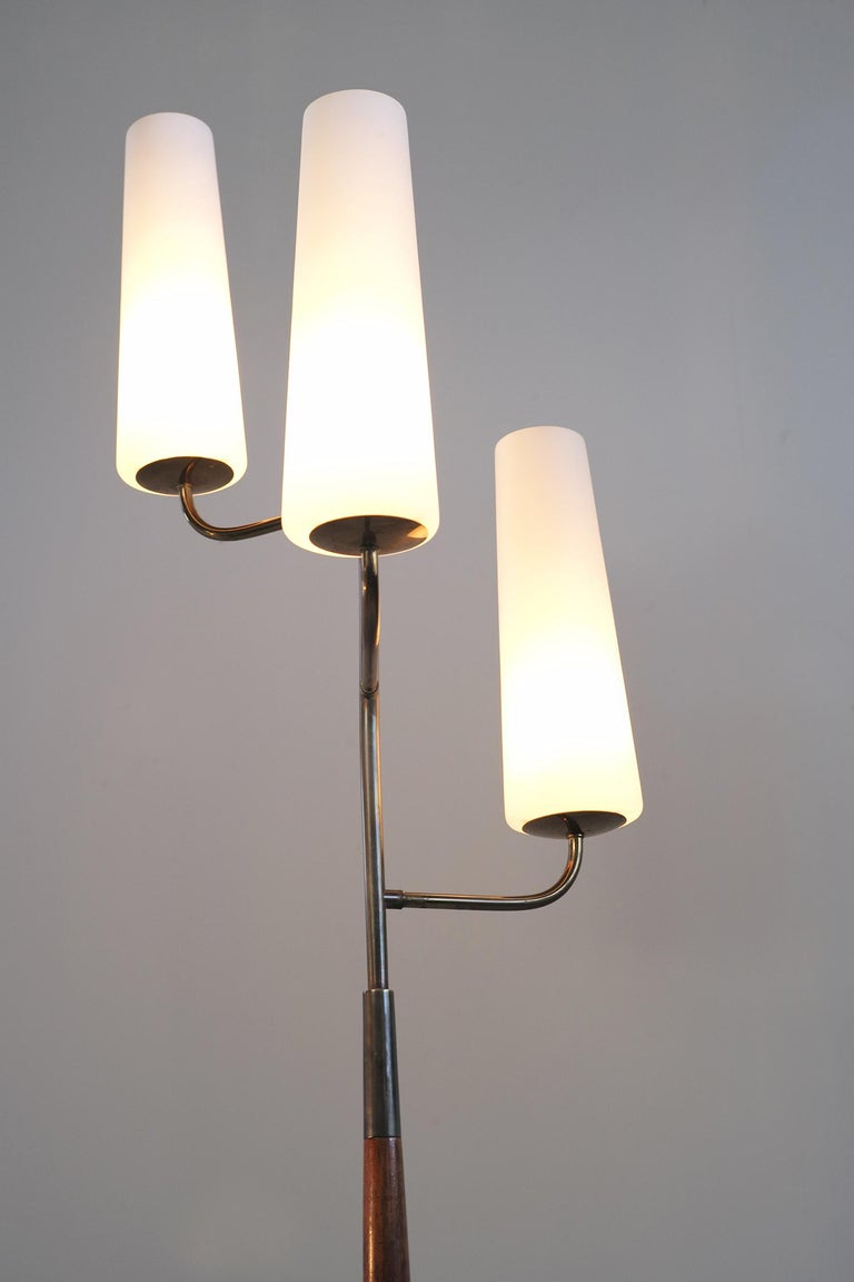 French Maison Lunel, Tripod Floor Lamp with Three Opalines, France, 1960 For Sale