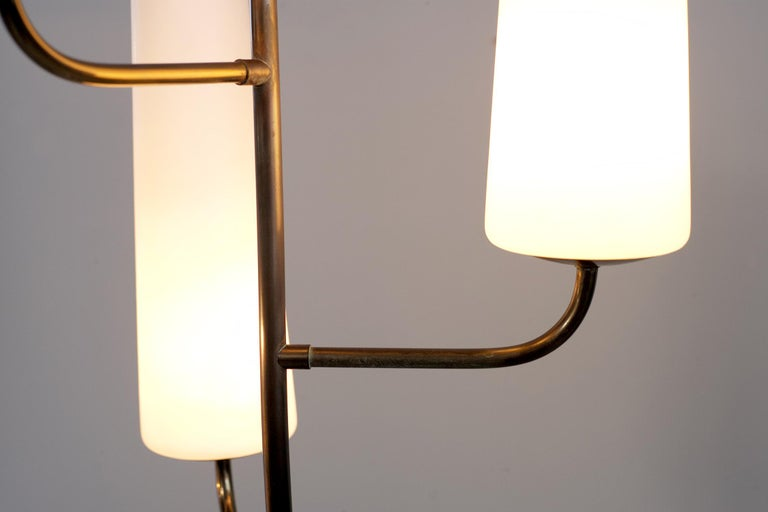 Wood Maison Lunel, Tripod Floor Lamp with Three Opalines, France, 1960 For Sale