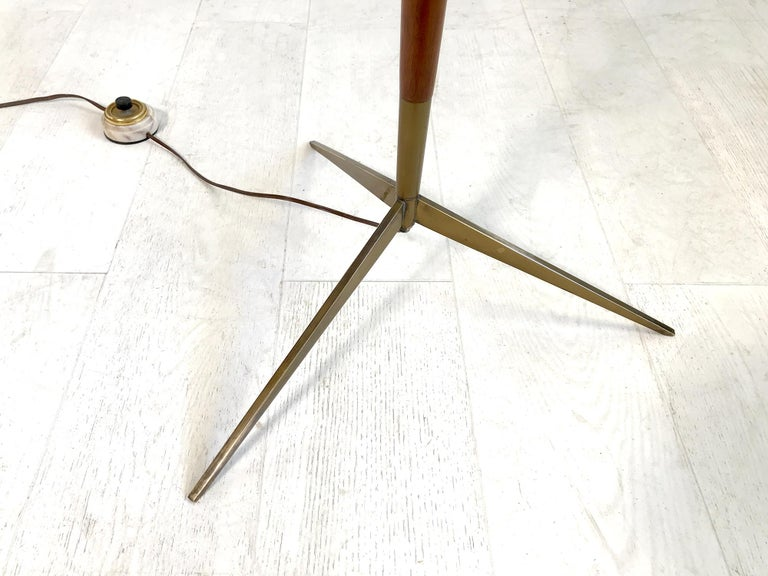 Maison Lunel, Tripod Floor Lamp with Three Opalines, France, 1960 For Sale 1