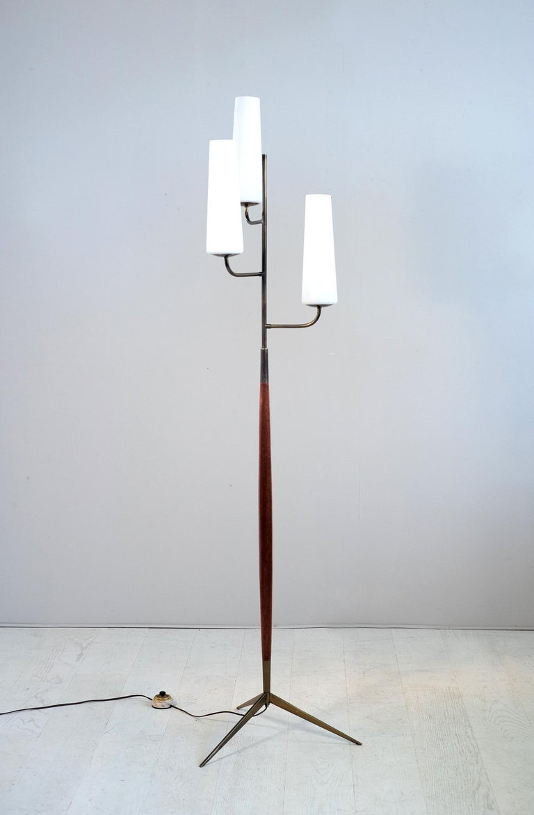 Maison Lunel, Tripod Floor Lamp with Three Opalines, France, 1960 For Sale 2