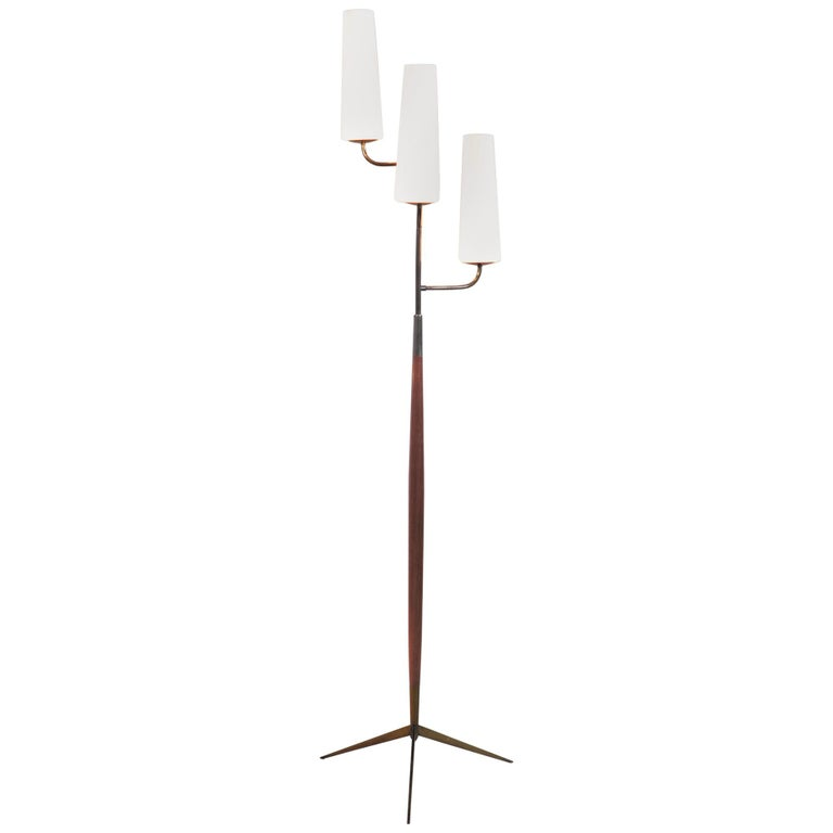 Maison Lunel, Tripod Floor Lamp with Three Opalines, France, 1960 For Sale