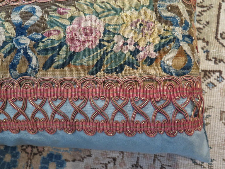 Custom 18th century floral tapestry pillow in beautiful Schumacher silk velvet and antique trim. Price listed is per pillow. Down filled.