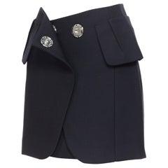 MAISON MARGIELA 2003 virgin wool blend large snap button mini skirt IT38 XS