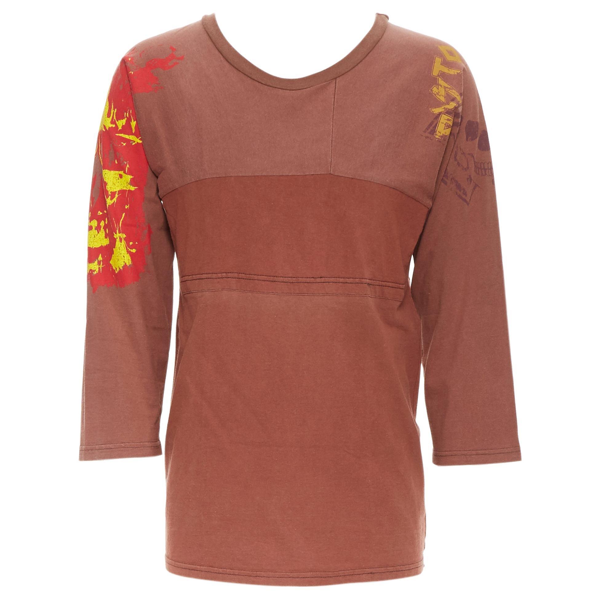MAISON MARGIELA 2013 brown cotton deconstructed patchwork bank t-shirt top
