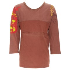 MAISON MARGIELA 2013 brown cotton deconstructed patchwork bank t-shirt top
