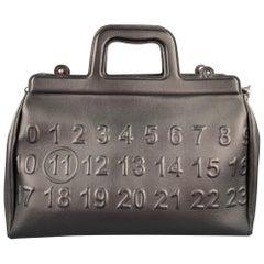 MAISON MARGIELA Black Embossed Leather Briefcase Bag