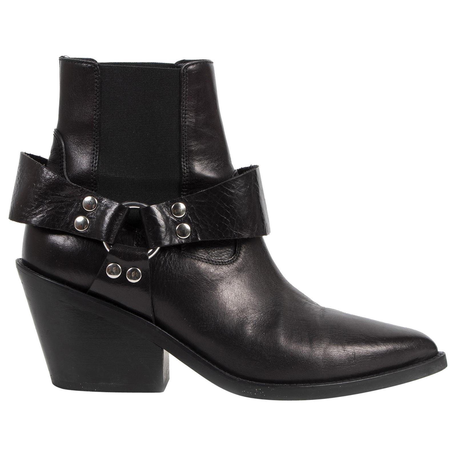 Maison Margiela Black Leather Ankle Boots - Size 38