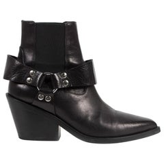 Maison Margiela Black Leather Ankle Boots - Size 38