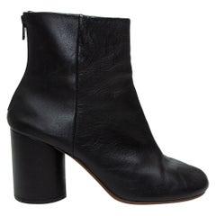 Maison Margiela Black Leather Round-Toe Ankle Boots