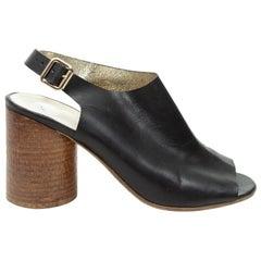Maison Margiela Black Leather Slingback Sandals