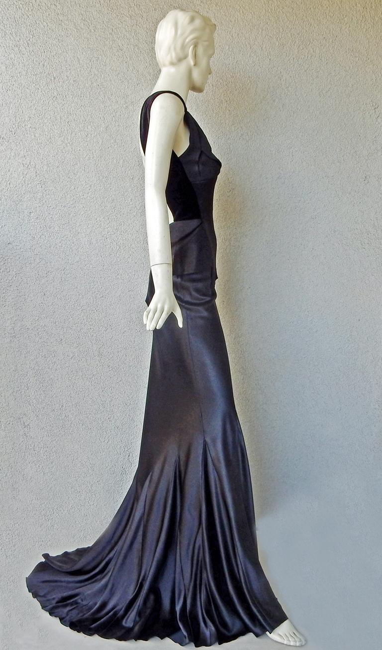 Maison Margiela Black Orchid Bias Gown with Open Back  New! For Sale 2