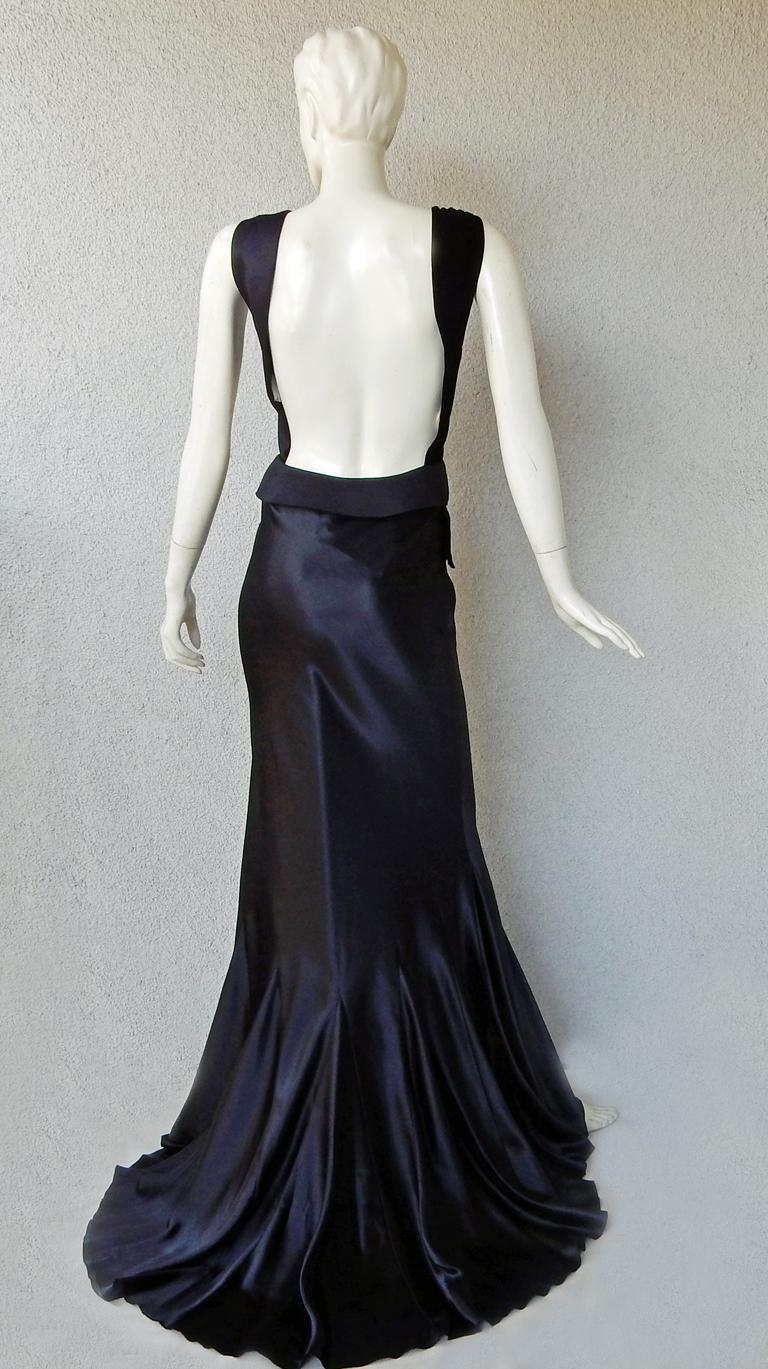 Maison Margiela Black Orchid Bias Gown with Open Back  New! For Sale 3