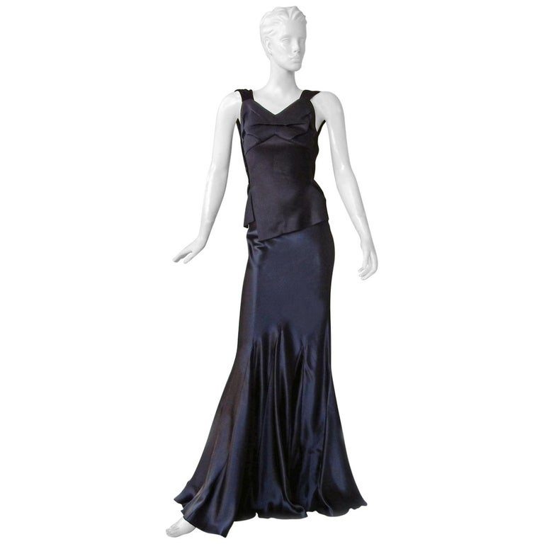 Maison Margiela Black Orchid Bias Gown with Open Back  New! For Sale