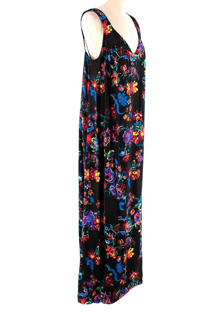 Maison Margiela Black Satin Floral Dress  - Soft satin texture  - Beautiful floral brushstroke print  - Ruffled details to the chest - Maxi length  - Gorgeous bright color combination  - Fun elegant design   Materials:  There is no care label but we