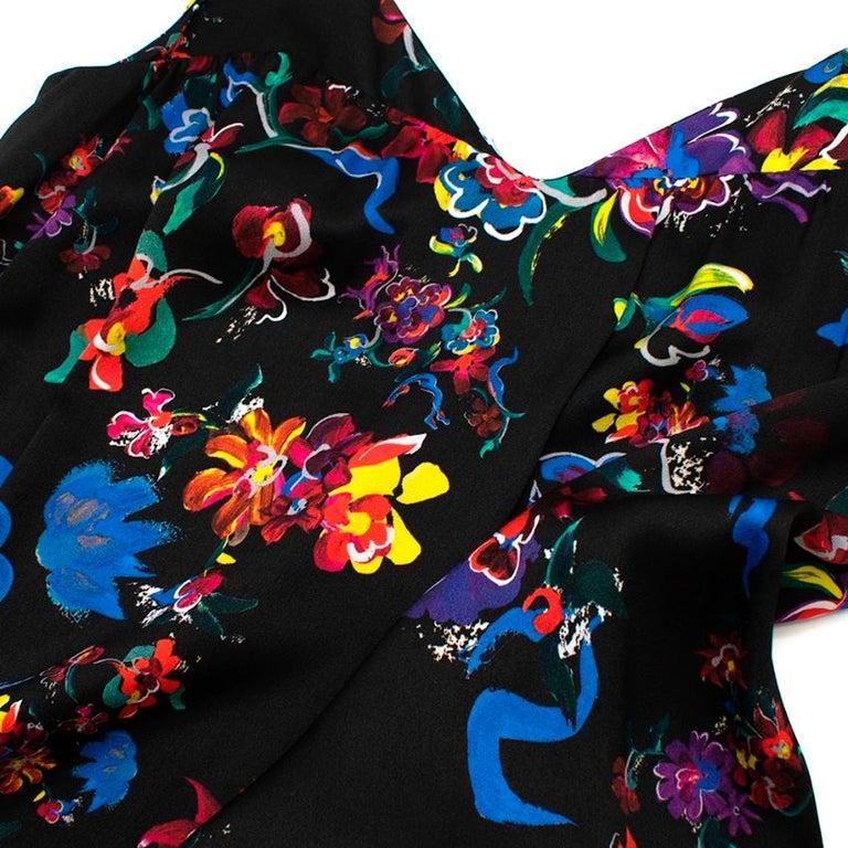 Maison Margiela Black Satin Sleeveless Floral Dress - Size US 10 For Sale 2