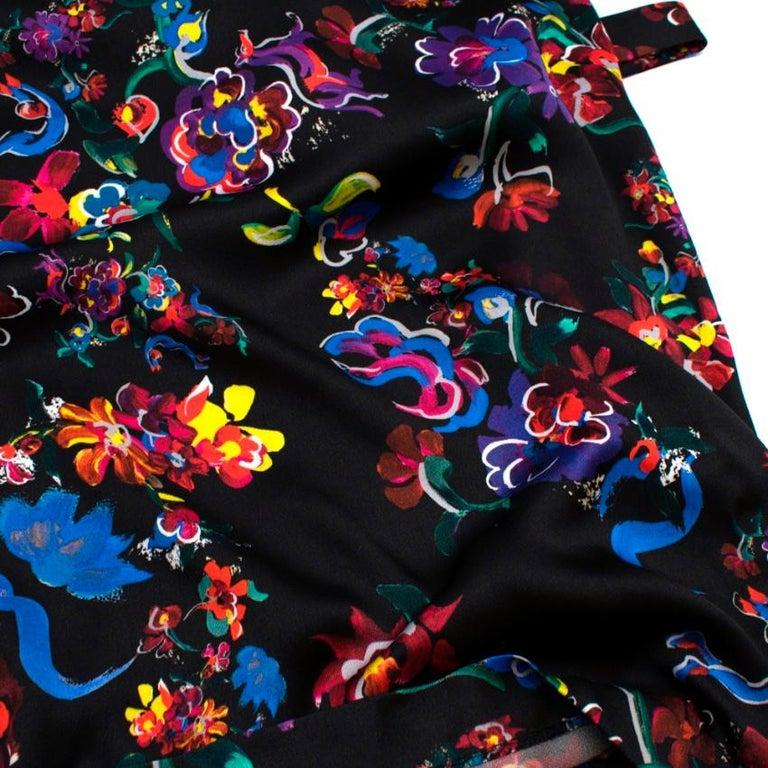 Maison Margiela Black Satin Sleeveless Floral Dress - Size US 10 For Sale 4