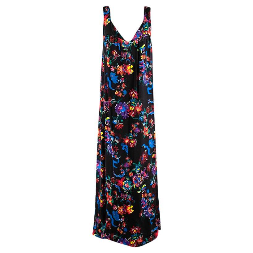 Maison Margiela Black Satin Sleeveless Floral Dress - Size US 10