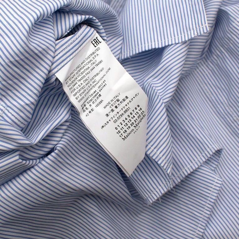 Maison Margiela Blue Striped Cotton-Poplin Shirt Dress US6 For Sale 6