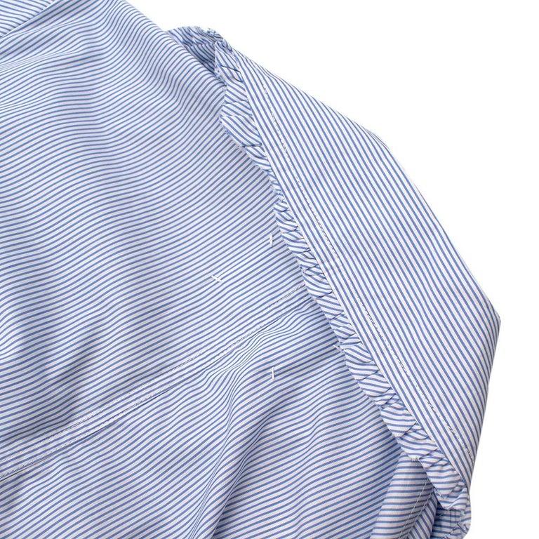 Maison Margiela Blue Striped Cotton-Poplin Shirt Dress US6 For Sale 7