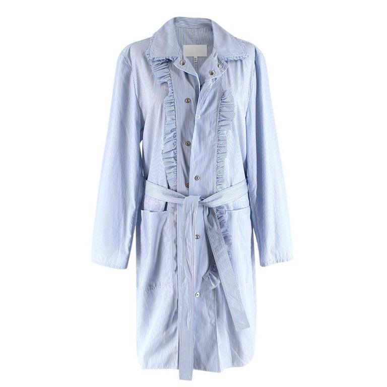 Maison Margiela Blue Striped Cotton-Poplin Shirt Dress  - Blue and white striped cotton-poplin shirt dress - Off-centre press-stud fastening  - Asymmetric ruffles - Ruffled point collar  - Matching tie waist  - Two front patch pockets  Materials: