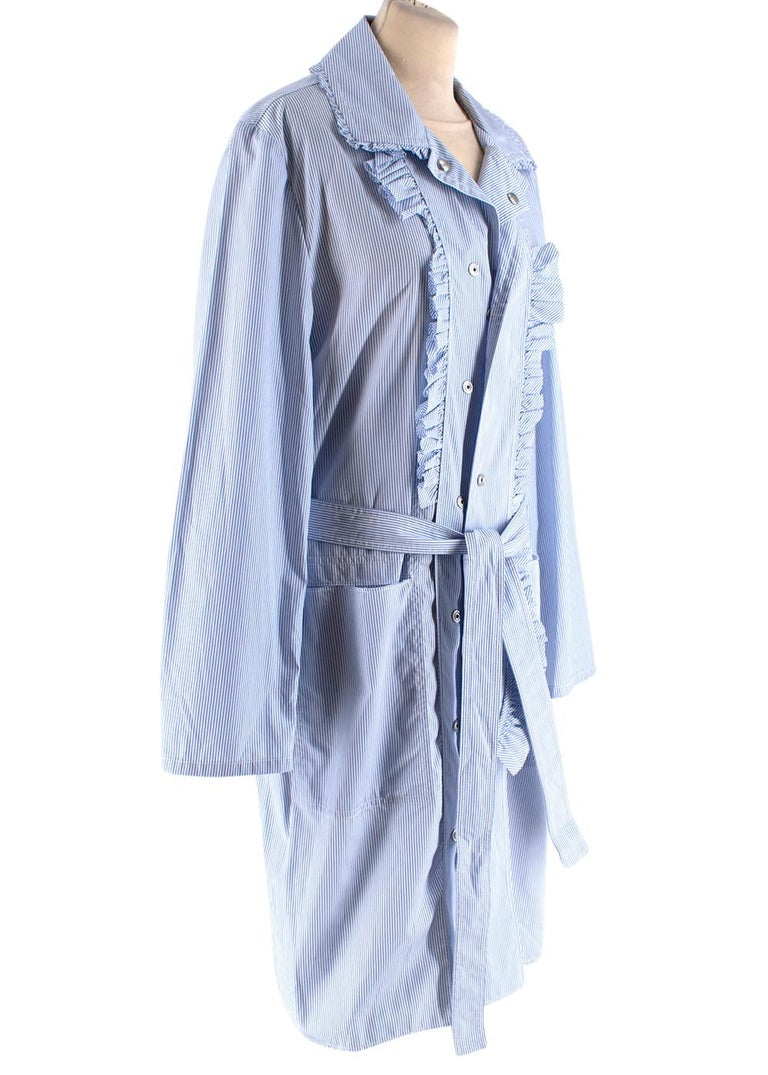 Maison Margiela Blue Striped Cotton-Poplin Shirt Dress US6 In New Condition For Sale In London, GB