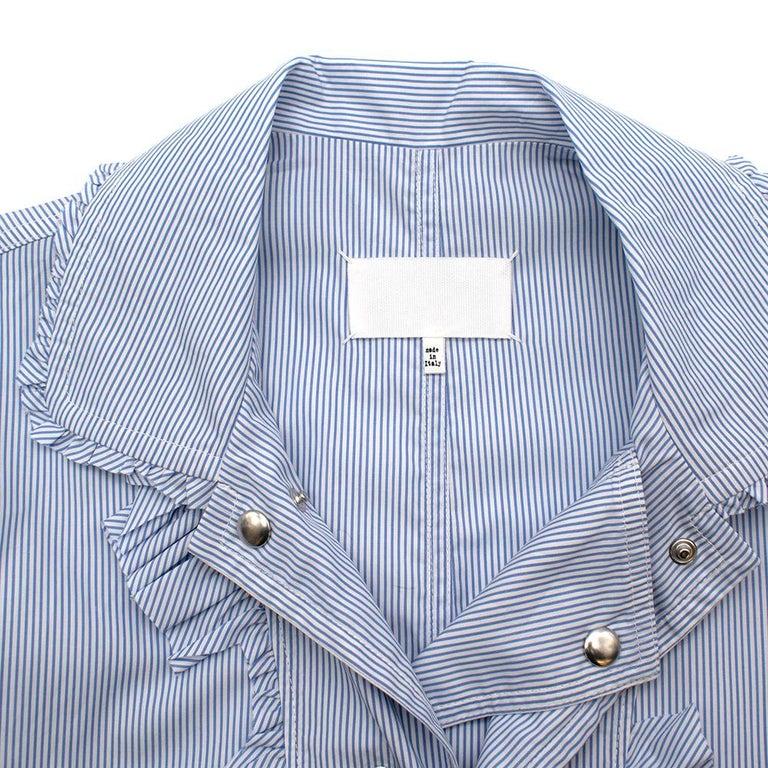 Maison Margiela Blue Striped Cotton-Poplin Shirt Dress US6 For Sale 1