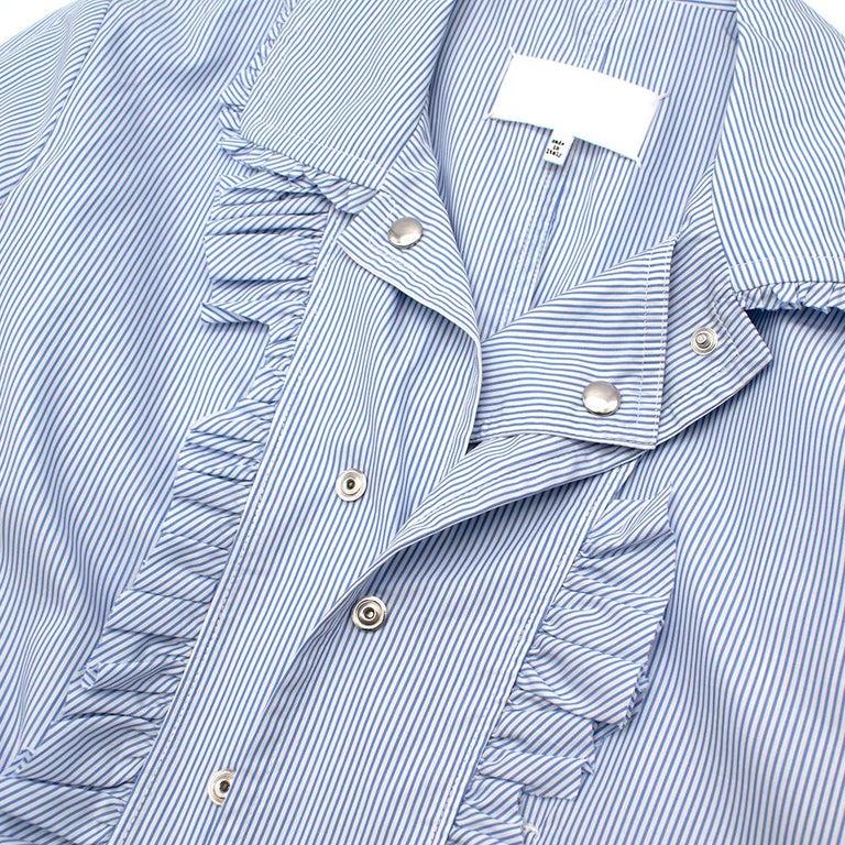 Maison Margiela Blue Striped Cotton-Poplin Shirt Dress US6 For Sale 2