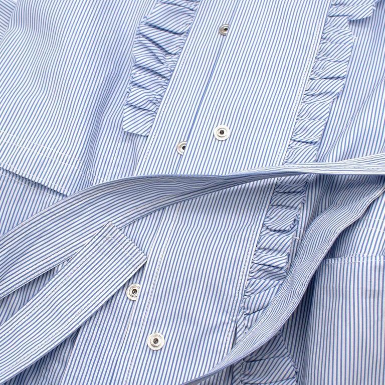 Maison Margiela Blue Striped Cotton-Poplin Shirt Dress US6 For Sale 4