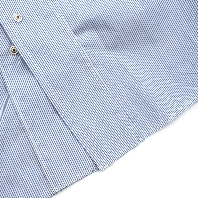 Maison Margiela Blue Striped Cotton-Poplin Shirt Dress US6 For Sale 5