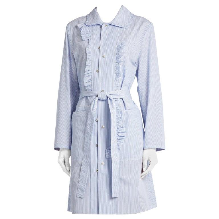Maison Margiela Blue Striped Cotton-Poplin Shirt Dress US6 For Sale