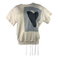 Maison Margiela Cream Heart Sweatshirt Top, Size M