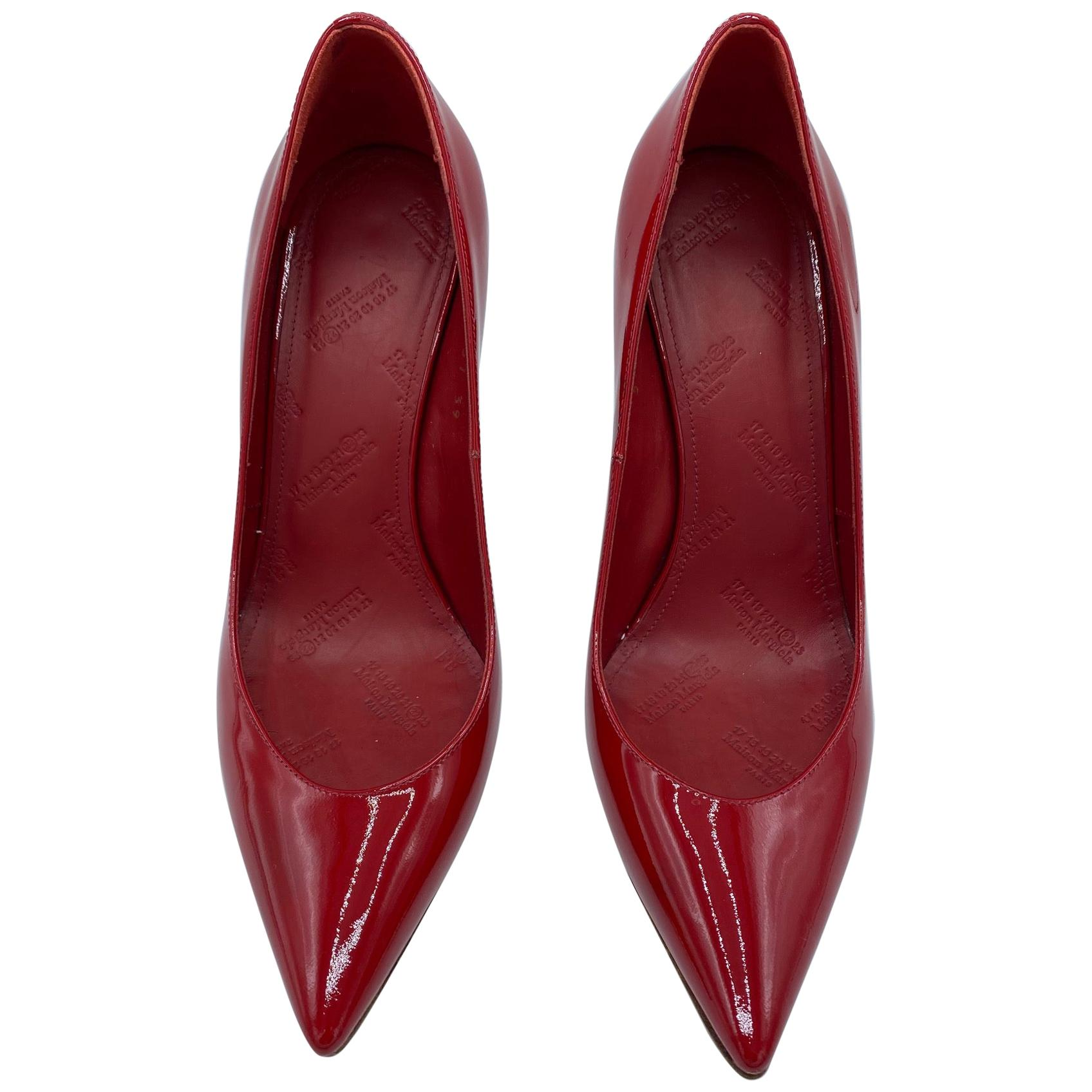 Maison Margiela Red Patent Leather Pump Heels Size 38
