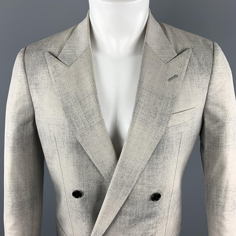 MAISON MARGIELA SARTORIAL Sport Coat comes in a gray marbled wool material, with a peak lapel, double breasted, slit pockets, cufflinks, and a single vent at back. Made in Italy.  Excellent Pre-Owned Condition. Marked: IT